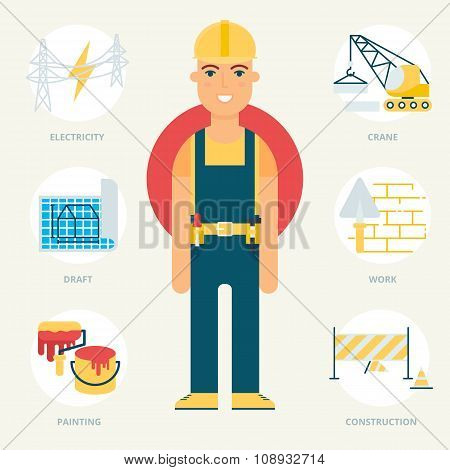Profession: Builder. Vector Illustration, Flat Style
