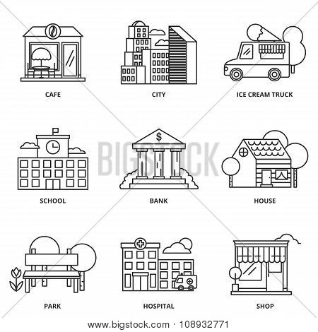City And Buildings Vector Icons Set