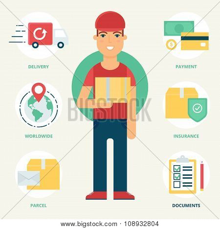 Profession: Courier. Vector Illustration, Flat Style