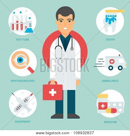 Profession: Doctor. Vector Illustration, Flat Style