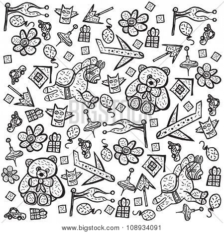 Child pattern with cute toy elements. Vector illustration. Isolated on white background. Concept with teddy bear for children paper, fabric or web site.