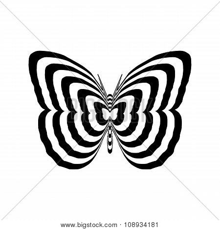 Geometric optical illusion black and white butterfly on a white background. Vector illustration