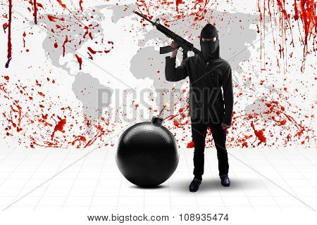 Terrorist With Bloody World Map