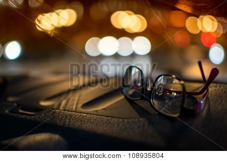 Pair Of Driving Glasses At Night