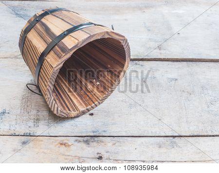 Empty Wooden Barrel Or Bucket