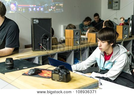 Russian Teenagers Playing Video Computer Games