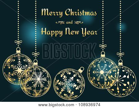 dark cyan Christmas and New Year background