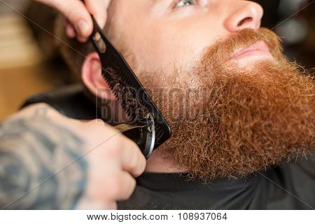 Skillful male barber is serving his customer