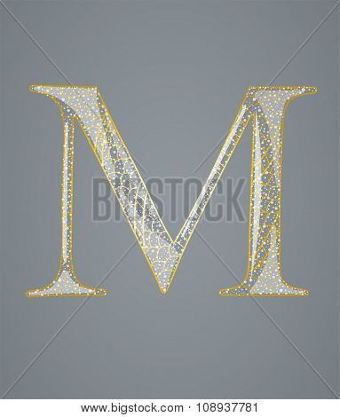 Abstract golden letter M.