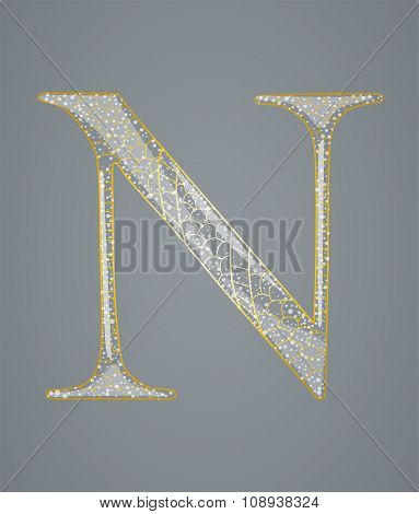 Abstract golden letter N.