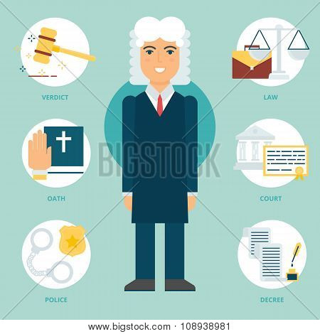 Profession: Judge. Vector Illustration, Flat Style