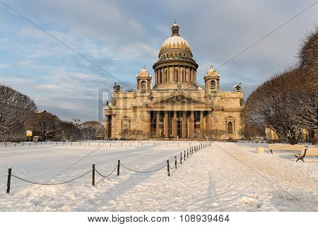 Winter Petersburg. St. Isaac's Cathedral in the morning sun.