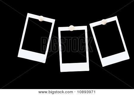 Isolated Blank instant photo Frames On Black Background