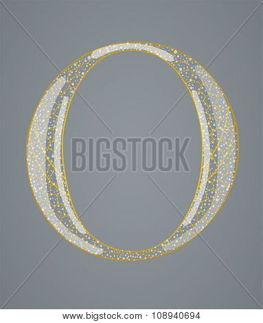 Abstract golden letter O.
