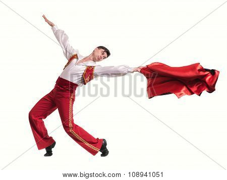 Dancing man wearing a toreador costume. Isolated on white in full length.