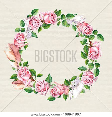 Rose flower wreath with feathers. Floral circle border. Watercolour