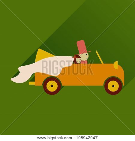 flat icon with long shadow bride and groom in car