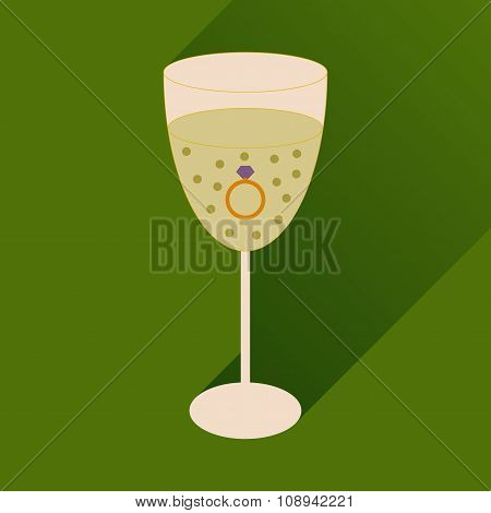 flat icon with long shadow glass of champagne with ring