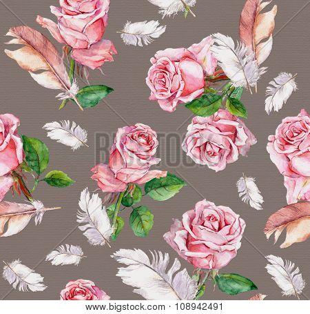 Seamless floral pattern with pink rose flowers and feathers. Watercolor