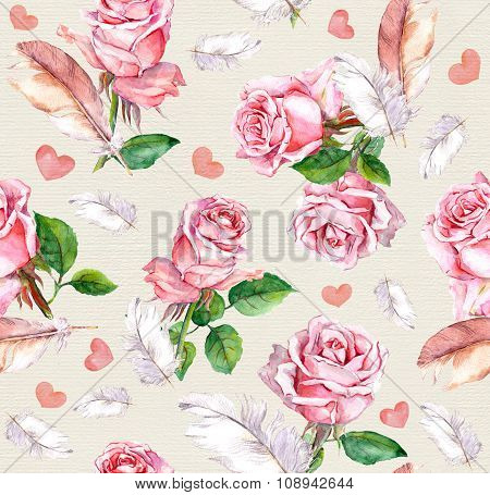 Rose flowers, feathers and hearts. Repeating retro floral pattern. Vintage