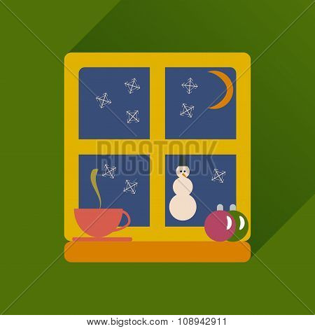 flat icon with long shadow snowman outside
