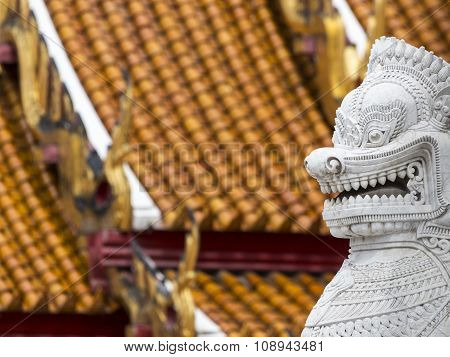 Twin Lion In Wat Benchamabophit, Bangkok, Thailand