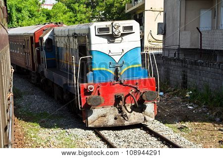 Diesel Train Of The Scenic Mountain Track In Sri Lanka