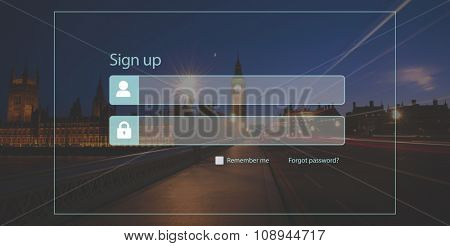 Sign Up Registration Password Privacy Security Concept