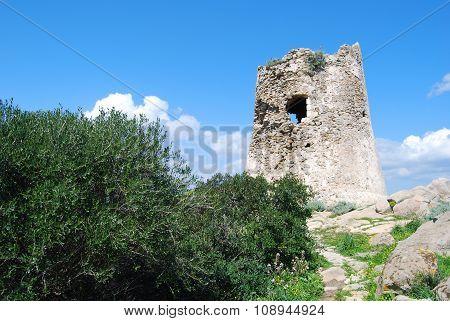 Background Of Spanish Ancient Toer Of Porto Giunco In Villasimius (sardinia)