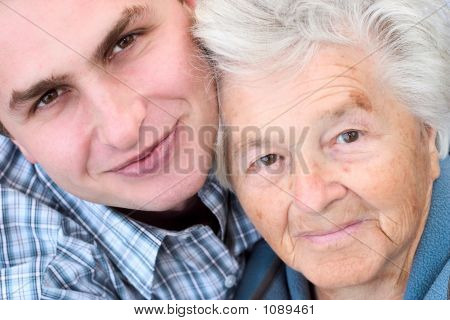 Eldely Woman And Young Man