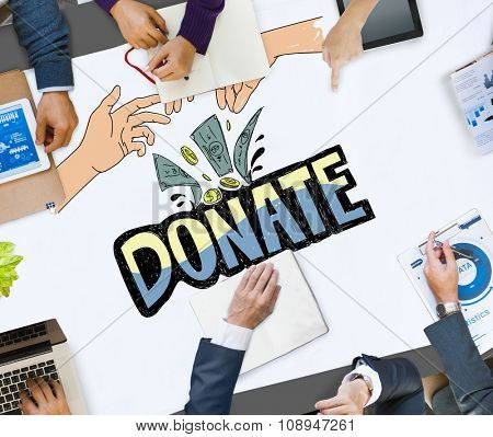 Donate Money Charity Generous Hands Concept