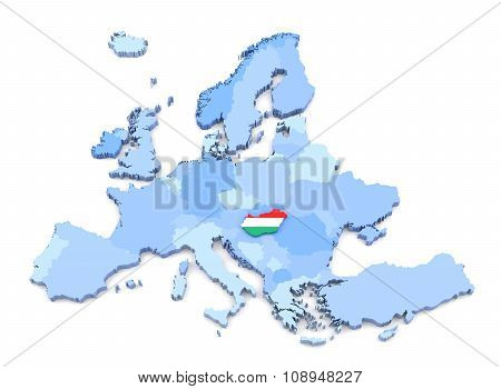 Europe Map, Hungary With Flag