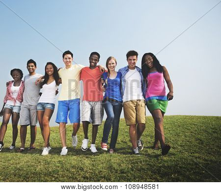 Group Friends Outdoors Diverse Cheerful Fun Concept
