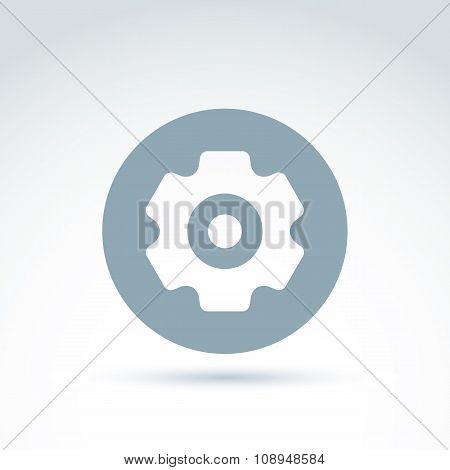 Vector Illustration Of An Organization System, Strategy Concept. Cog-wheels And Gears Placed In A Ci