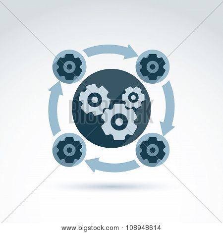 Vector Illustration Of An Organization System, Production Line Concept. Cog-wheels And Gears Placed