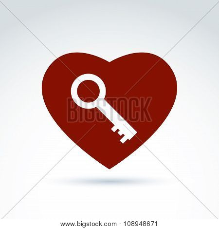 Vector Red Heart With A Key Isolated On White Background. Love Secret Symbol, Conceptual Privacy Ico