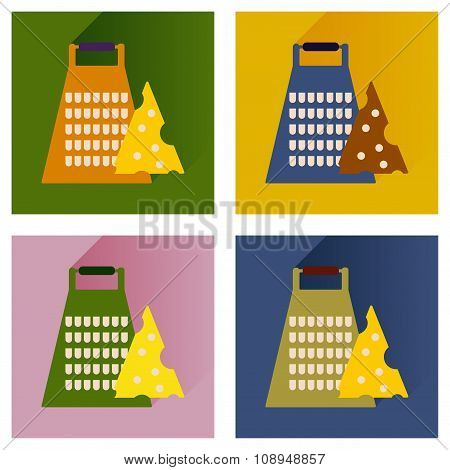 Vector set flat icons with long shadow Grater and cheese