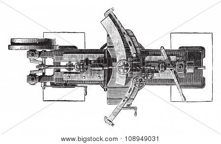 Machine slotting wheels, Plan, vintage engraved illustration. Industrial encyclopedia E.-O. Lami - 1875.