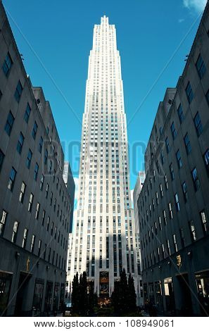NEW YORK CITY, NY - MAR 30: Rockefeller Plaza street view on March 30, 2014 in New York City. Declared a National Historic Landmark in 1987, it is a complex of 19 commercial buildings