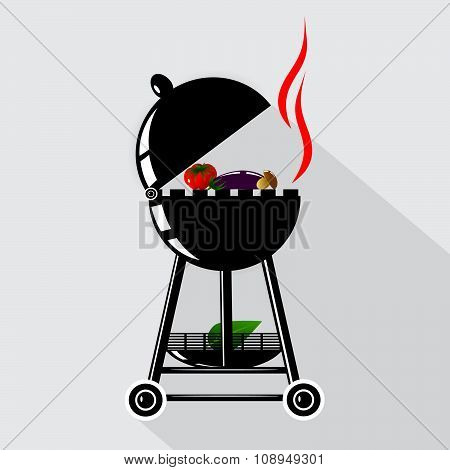 icon kitchen, a barbecue with vegetables.