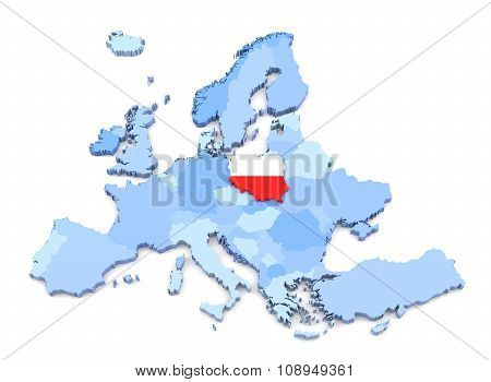Europe Map, Poland With Flag