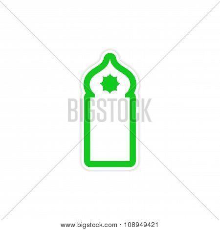 stylish paper sticker on white background Arab mosque