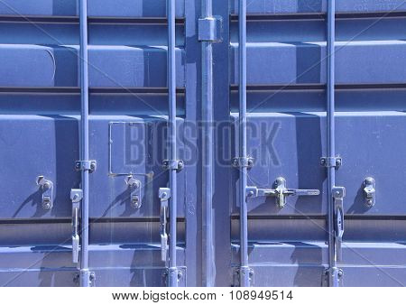 New Lock Mechanism On Blue Container Closeup
