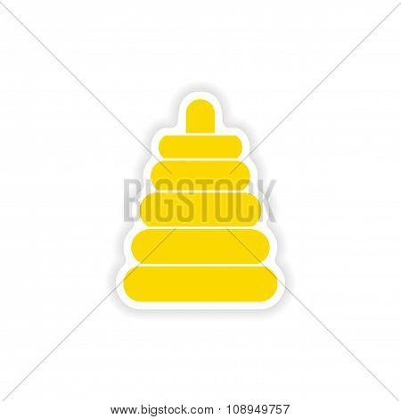 icon sticker realistic design on paper toy pyramid