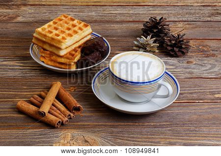 Cup Of Cappuccino, Waffles And Chocolate Candy