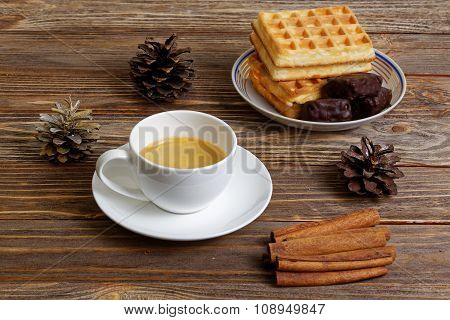 Cup Of Espresso, Waffles And Chocolate Candy