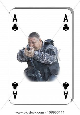 The ace of clubs in the fight. Special unit to fight terrorists. Cards are dealt on the table.