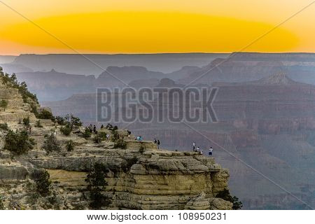 People Watching Colorful Sunset At The Great Canyon Seen From Maters Point