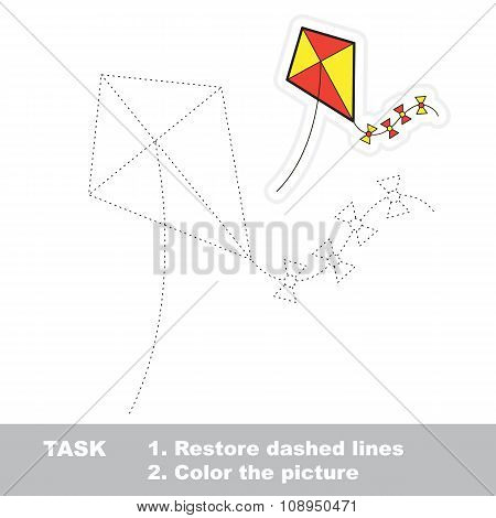 Vector trace game. toy kite to be traced.
