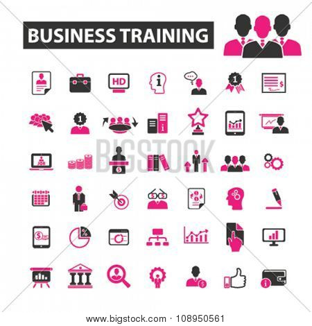 business training  icons, signs vector concept set for infographics, mobile, website, application